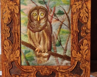 "Needle Felted Handmade Painting, Picture, Owl in Antique Pyrography Frame with Oak Leaves, 12 1/2"" x 15"""