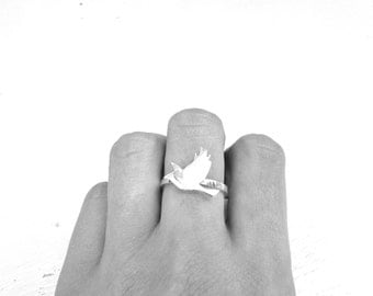 Bird ring sterling silver ring bird in flight silhouette ring quirky jewelry swallow ring