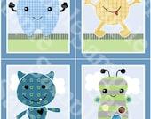 """Printable Set of 4 """"Peek A Boo Monsters"""" 8x10 Nursery Art  Instant Digital Download"""