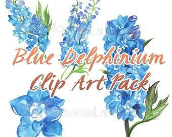 Blue Flower Clip Art - Delphinium  Watercolor Painting Digital Collage Clipart Scrapbooking - Blue Bridal Wedding Downloadable Clipart