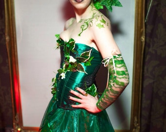 Poison Ivy Costume - Leaf Corset and Organza Skirt