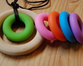 Wood n Silicone Ring Baby Teething Necklace*Natural Baby Teether*Silicone Nursing Necklace*Breastfeeding Necklace*Teething Toy* Baby Gift