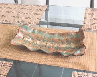 Bamboo Imprinted Ceramic Centerpiece Tray Asian Inspired Art Vessel Terracotta Green Pottery Decorative Dish Hand Formed Organic Clay Vessel
