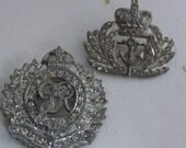 """Vintage brooches, signed """"ANTHONY"""" set of 2 lot  royal military """"GR"""" and """"anchor"""" crown crystal filled crown brooches"""