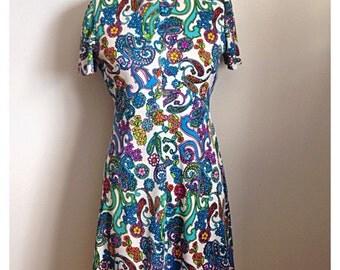 Vintage 1960s floral paisley dress