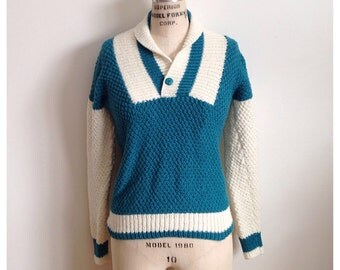 Vintage Forest Green and Ivory Hand Knitted Sweater