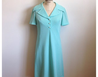 Vintage 1960s CORAL blue stripe embossed dress