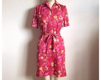 Vintage 1970s red pink floral day dress summer