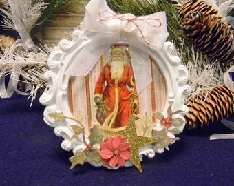 Victorian Decorated Frame, Christmas Frame, Santa Claus