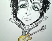 Billie Joe Armstrong Rock and Roll Caricature, Pop Portrait,Music Art by Leslie Mehl Art
