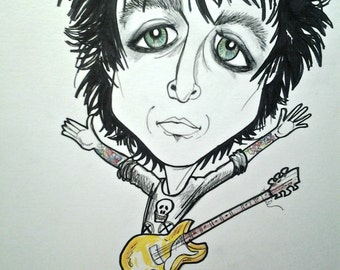 Billie Joe Armstrong Rock and Roll Caricature, Pop Portrait,Music Art by Leslie Mehl Art