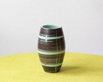Mid Century Modern East German Pottery Vase VEB Haldensleben in Brown and Aqua Green