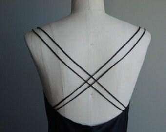 SALE! Black Bias Dress - Silk Wedding Gown - Cowl Neck Maxi  - Black Wedding Dress
