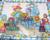 "DAISY KINGDOM BiG Panel Bunnies and Bears Garden Quilt Top 36"" x 44"" Fabric Panel HTF Baby Nursery Crib Quilt"
