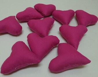 10 Fuchsia Hearts, Plush Hearts, Fabric Hearts, Heart Craft, Valentines Day Hearts, Stuffed Hearts, Fuchsia cotton