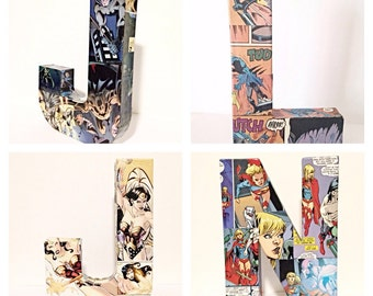 Medium Comic Book Letters, Custom Name, Pop Art,  8 inches