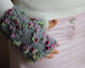 Grey Knit Fingerless Gloves with flowers-Plus size Gloves