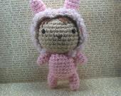 Doll in Bunny Suit Costume Crochet Amigurumi Plush Toy