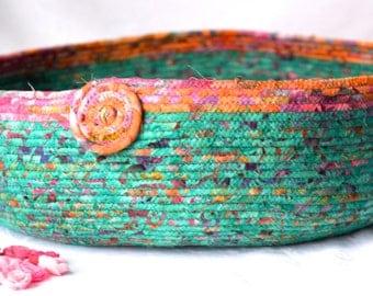 Gorgeous Fabric Basket, Handmade Green Batik Cat Bed, Dog Bed, Shoe Bin, Modern Pet Bed, Woodland Teal Green Batik Fabric Basket