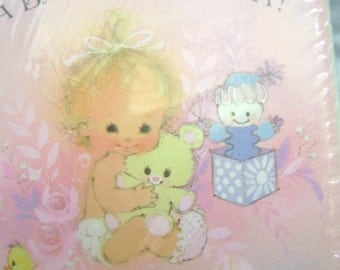 8 Vintage Forget me not Baby Girl Announcements   1960 or 1970