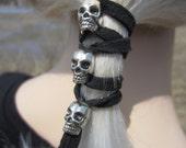 Hair Accessories Skull Jewelry Leather Ties Ponytail Holder Biker Hair Glove Wrap Z106