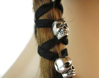 Skull Hair Wraps Beaded Hair Jewelry Ponytail Holder Silver Skeleton Beads