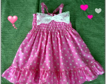 Pink and white polka dot dress, Pink polka dot baby dress, Pink Birthday dress, Pink-White polka  dress for baby, ( Sizes 3m. to 24m )
