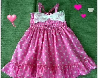 Baby Pink polka dot dress, Pink polka dot baby dress, Pink Birthday dress, Pink-White polka dress for baby, ( Sizes 3m. to 24m )