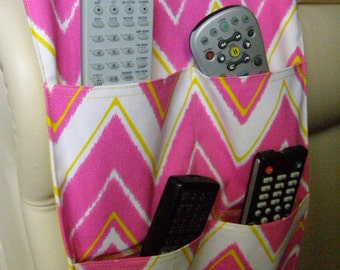 Remote Control Caddy 4 pocket Hot Pink Chevron