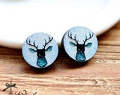 20% off -NEW Unique 3D Embossed  Deer 16mm Round Handmade Wood Cut Cabochon to make Rings, Earrings, ,Necklaces, Bracelets-(WG-137)