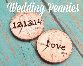 Lucky Penny For Her Shoe Wedding Day Pennies Charm for Bride Groom No Hole Any Year 1950 to 2017 Set of 2 WEDDING SHOWER Gift