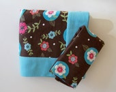 Double Flannel Receiving Blanket for Girl in Pink and Blue Flowers - DOUBLE THICK plus FREE burp cloth - Girl Baby Blanket, Flannel Blanket