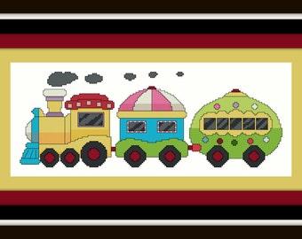 Train Cross Stitch Pattern - Digital File - Hoop Art, Embroidery Pattern, Nursery Cross Stitch, Baby Boy, Modern Cross Stitch