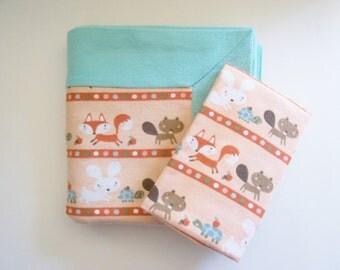 Fox Baby Receiving Blanket- DOUBLE THICK plus FREE burp cloth - Animal Baby Blanket, Boy Baby Blanket, Blue Baby Blanket