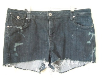 Reinvented OOAK black cut-off destroyed embellished denim shorts size 18