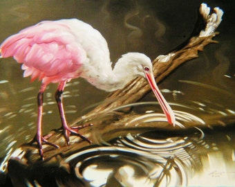 "SPOONBILL print by RUSTY RUST 11"" x 17"" heavy paper, 11"" x 16"" appx. image size / S-43-P"