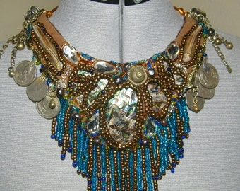 Beaded Tribal Fusion Belly Dance Abalone Shell Necklace-nectribd31