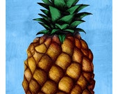 DIGITAL Pineapple illustration-postcard sized instant download of original illustration painting-print your own