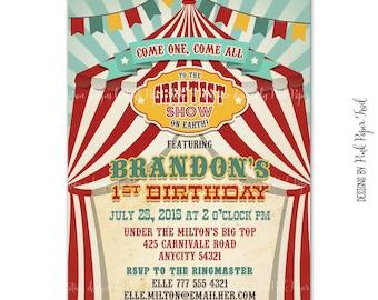 Vintage Circus Birthday Invitation, Carnival Invitation, Big Top Invitation, Printable Circus Invitation