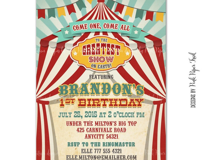 Vintage Circus Birthday Invitation, Carnival Invitation, Big Top Invitation, Printable Circus Invitation