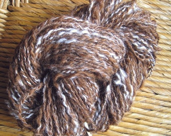 handspun alpaca yarn, DK / worsted, 65g, proceeds to charity, 106 yards/97 meters,  thick and thin, DK / worsted weight,