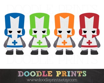 Castle Crashers clipart  - Clip Art Printable - Video Game Medieval Knights - Digital Images - Personal and Commercial Use