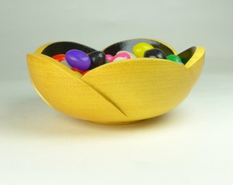 Wooden Daisy Bowl - hand turned Exotic Yellow Heart wood flower petal Wood Bowl - Hand Carved