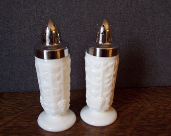 Vintage Milk Glass Salt and Pepper Shakers Westmoreland Glass Panel Grape Pattern
