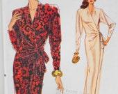 Vogue Pattern 7660, Very Easy Sewing Pattern, Womens Wrap Dress Size 12 thru 16 Un Cut Pattern