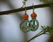 Turquoise Earrings, earrings, Turquoise, western, jewelry, peace sign, peace, love, orange