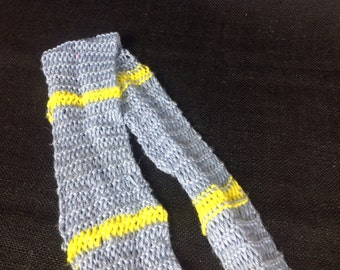 Light blue and yellow soft long knitted infinity scarf