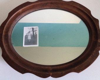 Antique Wood Dressing Mirror