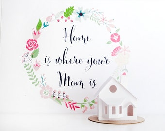 Mothers Day Gift, Glitter House Paper Craft Kit, Putz House DIY Kit, Home is Where Your Mom Is Christmas Ornament Bay Window,Crafty Mom Gift