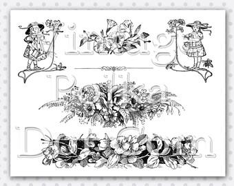 Clip Art Vintage Garden Flowers Clipart Printable Digital Instant Download Collage Border Header Scrapbooking Print Art Craft